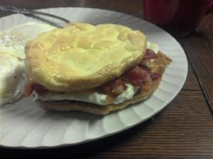 Oopsie breakfast sandwich with eggs and bacon, attempt #1