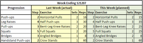 Weekly Workout Summary 121207